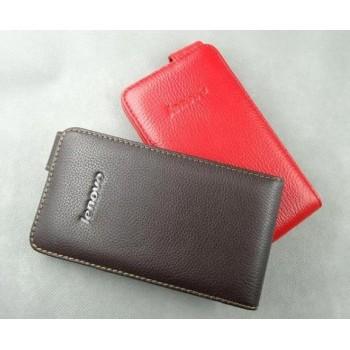 Кожаный чехол книжка вертикальная (нат. кожа) для Lenovo IdeaPhone S920