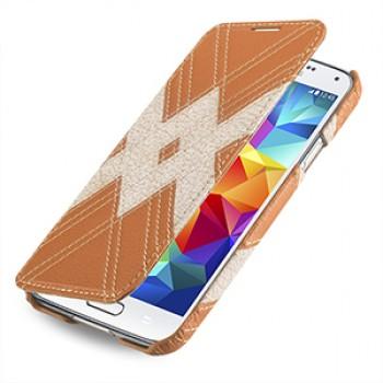 Кожаный чехол горизонтальная книжка (нат. кожа) для Samsung Galaxy S5
