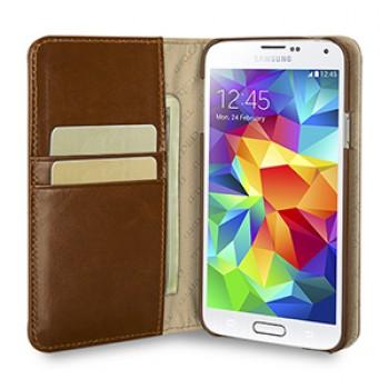 Эксклюзивный кожаный чехол портмоне подставка (нат. вощеная кожа) для Samsung Galaxy S5 коричневый