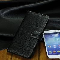 Кожаный чехол портмоне (нат. кожа крокодила) для Samsung Galaxy Grand 2 Duos Черный