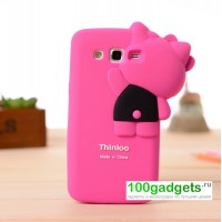 Силиконовый дизайнерский фигурный чехол для Samsung Galaxy Grand 2 Duos Розовый