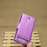 Чехол портмоне подставка для Sony Xperia E1 Фиолетовый