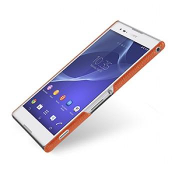 Кожаный чехол накладка серия Back Cover (нат. кожа) для Sony Xperia T2 Ultra оранжевый