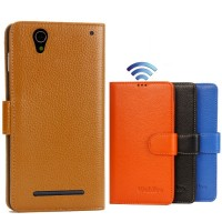 Кожаный чехол портмоне (нат. кожа) с магнитной застежкой для Sony Xperia T2 Ultra