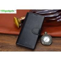 Кожаный чехол портмоне (нат. кожа) с магнитной застежкой для Sony Xperia T2 Ultra Черный