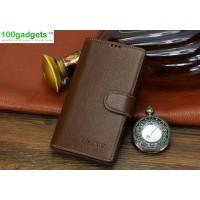 Кожаный чехол портмоне (нат. кожа) с магнитной застежкой для Sony Xperia T2 Ultra Коричневый