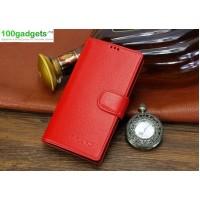 Кожаный чехол портмоне (нат. кожа) с магнитной застежкой для Sony Xperia T2 Ultra Красный