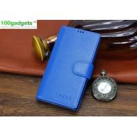 Кожаный чехол портмоне (нат. кожа) с магнитной застежкой для Sony Xperia T2 Ultra Голубой