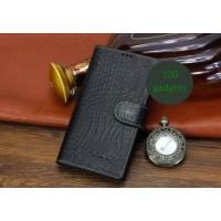 Кожаный чехол портмоне (нат. кожа крокодила) для Sony Xperia T2 Ultra Черный