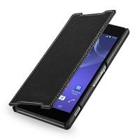 Кожаный чехол книжка горизонтальная (нат. кожа) для Sony Xperia Z2 черная