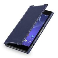 Кожаный чехол книжка горизонтальная (нат. кожа) для Sony Xperia Z2 синяя
