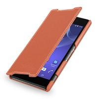 Кожаный чехол книжка горизонтальная (нат. кожа) для Sony Xperia Z2 оранжевая