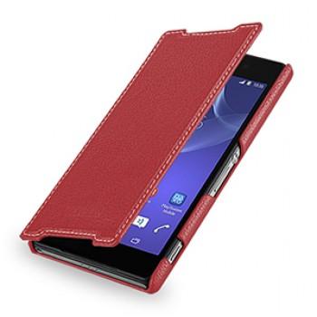 Кожаный чехол книжка горизонтальная (нат. кожа) для Sony Xperia Z2 красная