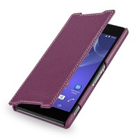Кожаный чехол книжка горизонтальная (нат. кожа) для Sony Xperia Z2 фиолетовая