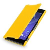 Кожаный чехол книжка горизонтальная (нат. кожа) для Sony Xperia Z2 желтая