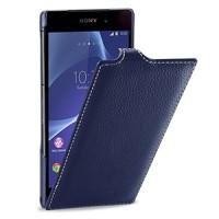 Кожаный чехол книжка вертикальная док-совместимая (нат. кожа) для Sony Xperia Z2 синяя