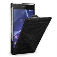 Эксклюзивный кожаный чехол вертикальная книжка (цельная телячья нат. кожа) для Sony Xperia Z2 черная