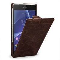Эксклюзивный кожаный чехол вертикальная книжка (цельная телячья нат. кожа) для Sony Xperia Z2 коричневая