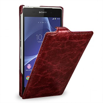 Эксклюзивный кожаный чехол вертикальная книжка (цельная телячья нат. кожа) для Sony Xperia Z2 красная