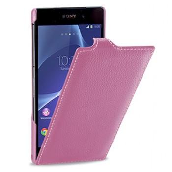 Кожаный чехол книжка вертикальная док-совместимая (нат. кожа) для Sony Xperia Z2 розовая