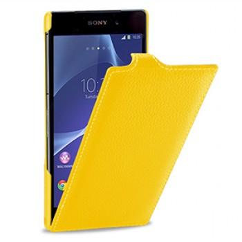 Кожаный чехол книжка вертикальная док-совместимая (нат. кожа) для Sony Xperia Z2 желтая