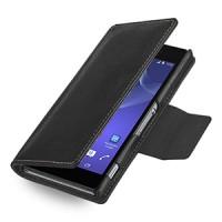 Эксклюзивный кожаный чехол портмоне подставка (нат. кожа) для Sony Xperia Z2 черная