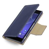 Эксклюзивный кожаный чехол портмоне подставка (нат. кожа) для Sony Xperia Z2 синяя
