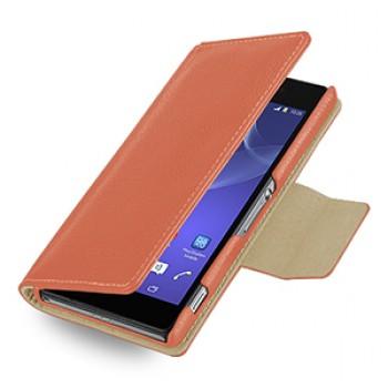 Эксклюзивный кожаный чехол портмоне подставка (нат. кожа) для Sony Xperia Z2 оранжевая