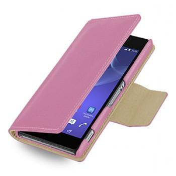 Эксклюзивный кожаный чехол портмоне подставка (нат. кожа) для Sony Xperia Z2 розовая