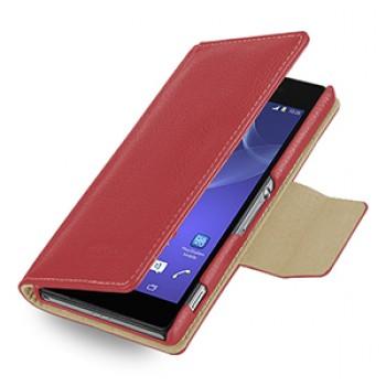 Эксклюзивный кожаный чехол портмоне подставка (нат. кожа) для Sony Xperia Z2 красная