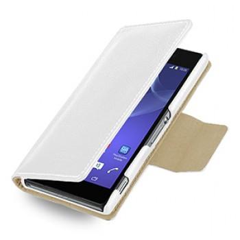 Эксклюзивный кожаный чехол портмоне подставка (нат. кожа) для Sony Xperia Z2 белая