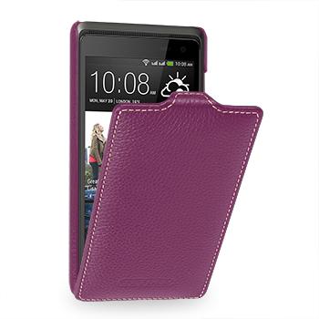 Кожаный чехол книжка вертикальная (нат. кожа) для HTC Desire 600 фиолетовая