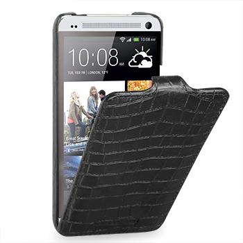 Кожаный чехол книжка вертикальная ( нат. кожа крокодила) для HTC One