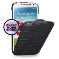 Кожаный эксклюзивный чехол (нат.кожа крокодила) для Samsung Galaxy S4 черный