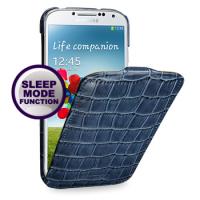 Кожаный эксклюзивный чехол (нат.кожа крокодила) для Samsung Galaxy S4 синий