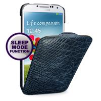 Кожаный эксклюзивный чехол (нат.кожа змеи) для Samsung Galaxy S4 синий