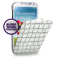 Кожаный эксклюзивный чехол (нат.кожа крокодила) для Samsung Galaxy S4 белый