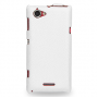 Кожаный чехол книжка(нат. кожа)  для Sony Xperia L белая