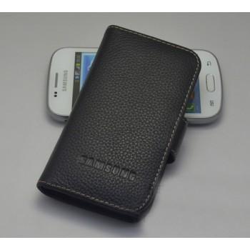 Кожаный чехол портмоне (цельная телячья нат. кожа) для Samsung Galaxy Trend 2 II Duos