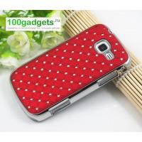 Чехол пластик/металл со стразами для Samsung Galaxy Trend 2 II Duos Красный