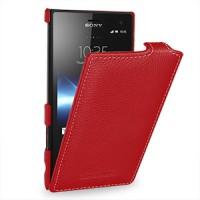 Кожаный чехол вертикальная книжка для Sony Xperia acro S Красный