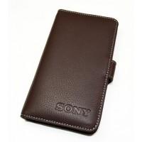 Чехол кожаный портмоне(нат. кожа) для Sony Xperia C Коричневый