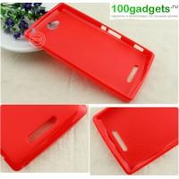 Силиконовый непрозрачный чехол для Sony Xperia C Красный