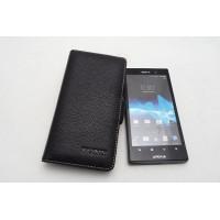 Чехол кожаный книжка горизонтальная (нат. кожа) для Sony Xperia ion
