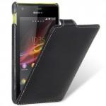 Кожаный чехол книжка вертикальная для Sony Xperia M