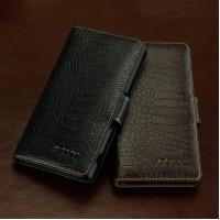 Кожаный чехол портмоне (нат. кожа крокодила) для Sony Xperia Z1