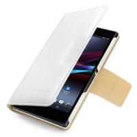 Эксклюзивный кожаный чехол книжка горизонтальная (нат. кожа) серия Folder для Sony Xperia Z Ultra белая