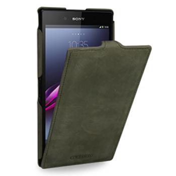 Кожаный эксклюзивный чехол ручной работы (винтажная кожа) для Sony Xperia Z Ultra зеленый
