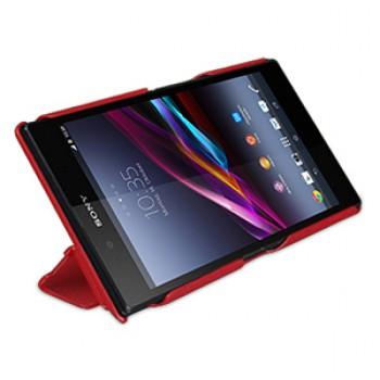 Кожаный чехол книжка подставка горизональная сегментаная (нат. кожа) для Sony Xperia Z Ultra красная