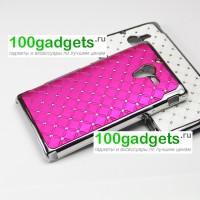 Чехол пластик/металл со стразами для Sony Xperia ZL Пурпурный